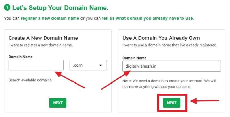 greengeeks domain selection