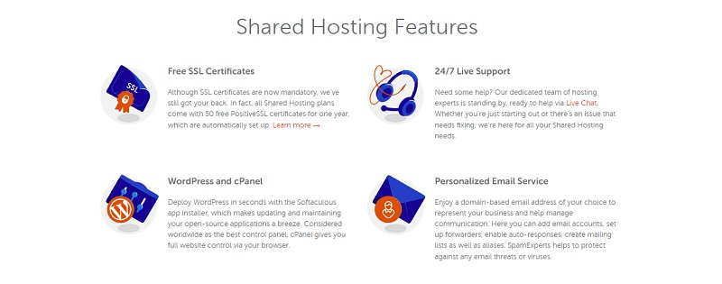 shared hosting features
