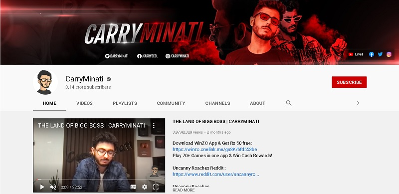 carryminati you tube channel