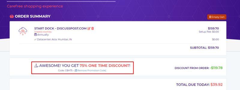 get discount on hostarmada shared plan