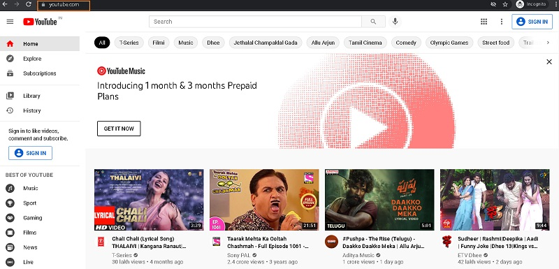 youtube homepage for channel creation
