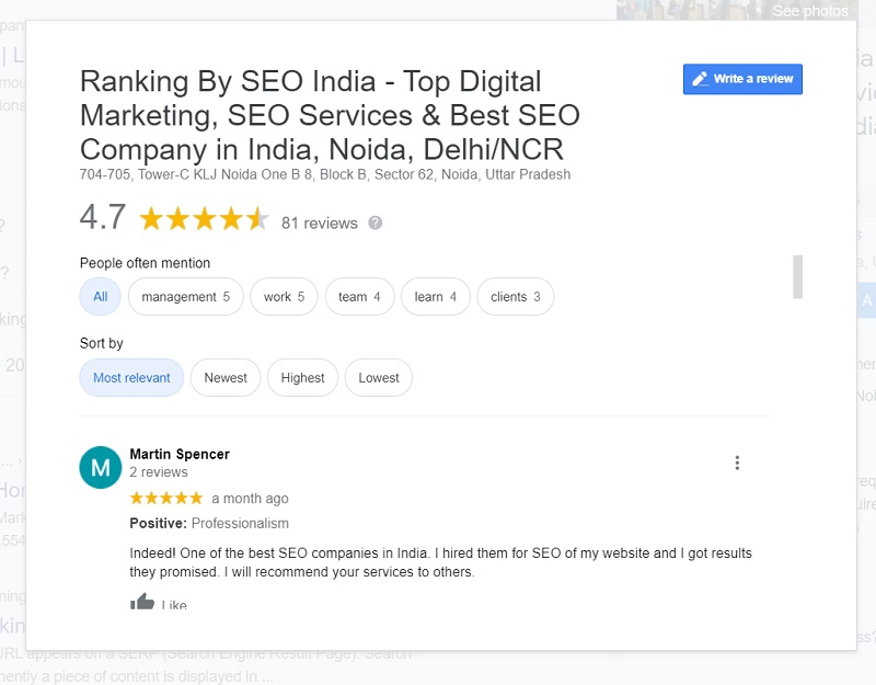 Reviews of Ranking By SEO India, best seo company in India