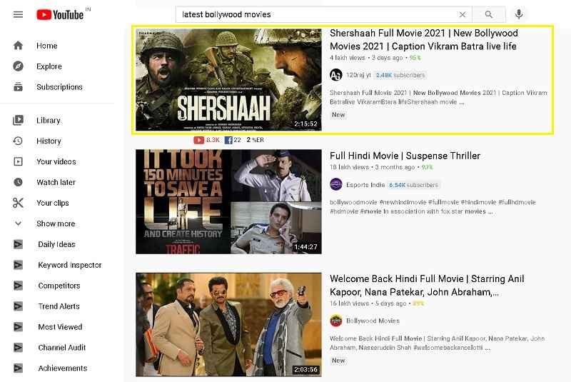 Choose a bollywood movie you want to download from YouTube and copy its link