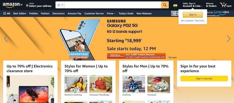 amazon india is popular online clothes shopping sites