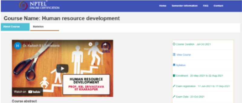 human resource development course offered by indian government