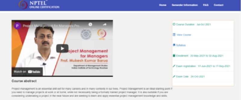 product management course by the government of india